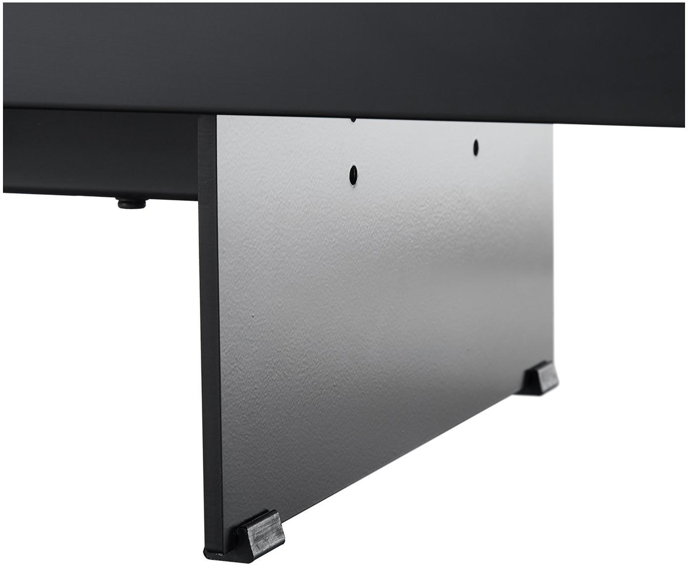 Tv-meubel Fiona met oppervlak in marmerlook, Frame: gelakt MDF, Poten: gepoedercoat metaal, Plank: keramiek, Frame: mat zwart. Poten: mat zwart. Plank: zwart, gemarmerd, 160 x 46 cm