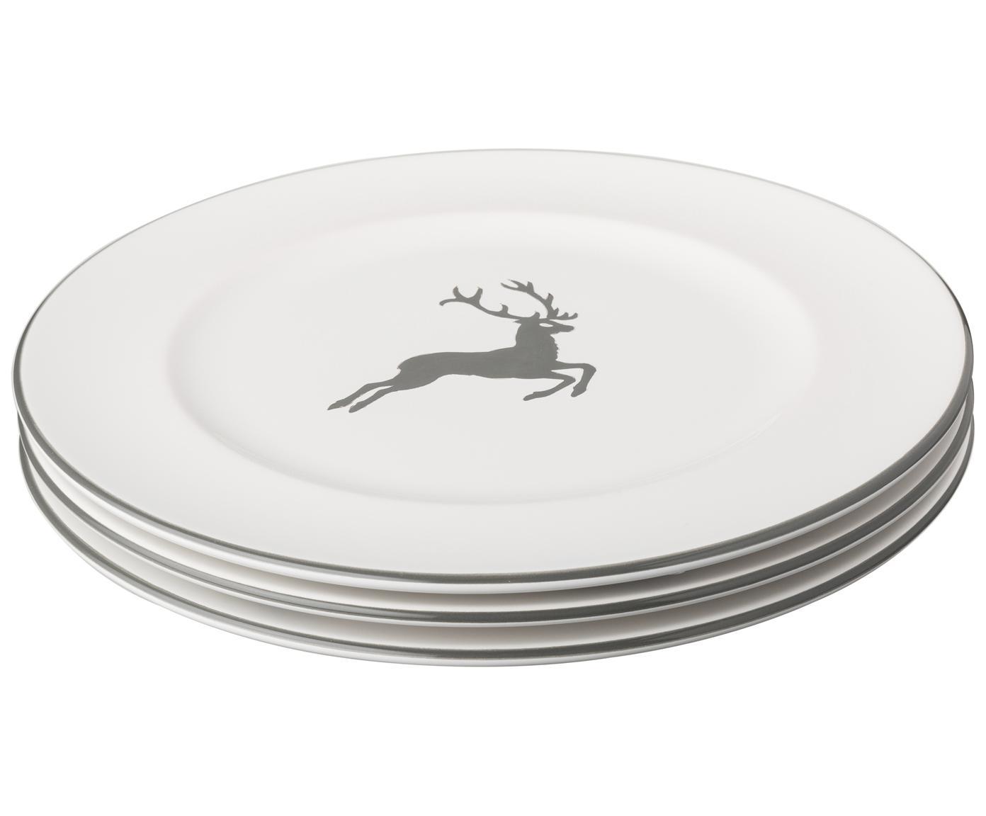 Plato llano Gourmet Grauer Hirsch, Cerámica, Gris, blanco, Ø 27 cm