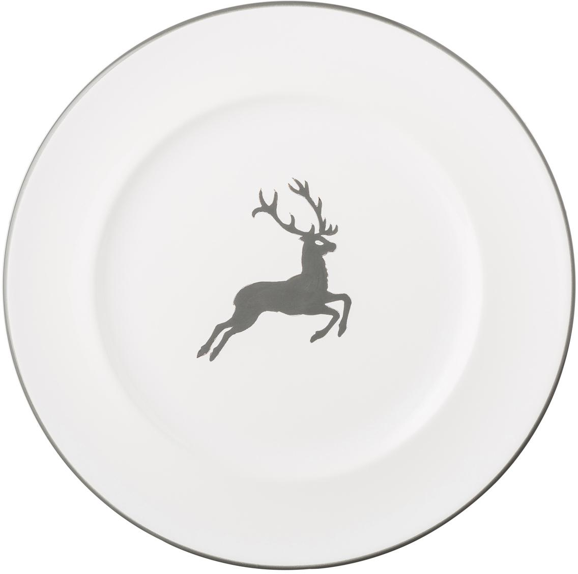 Handbemalter Speiseteller Gourmet Grauer Hirsch, Keramik, Grau,Weiß, Ø 27 cm