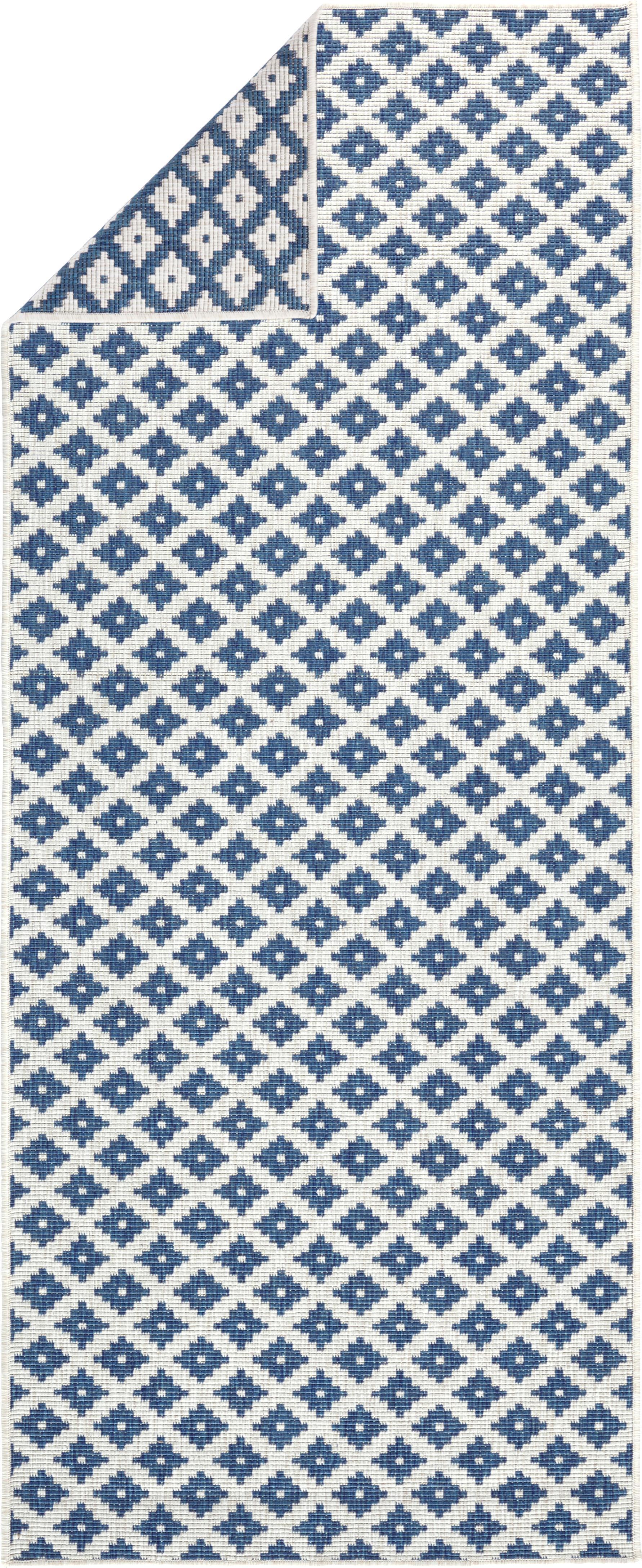 Passatoia reversibile da interno-esterno Nizza, Blu, color crema, Larg. 80 x Lung. 250 cm