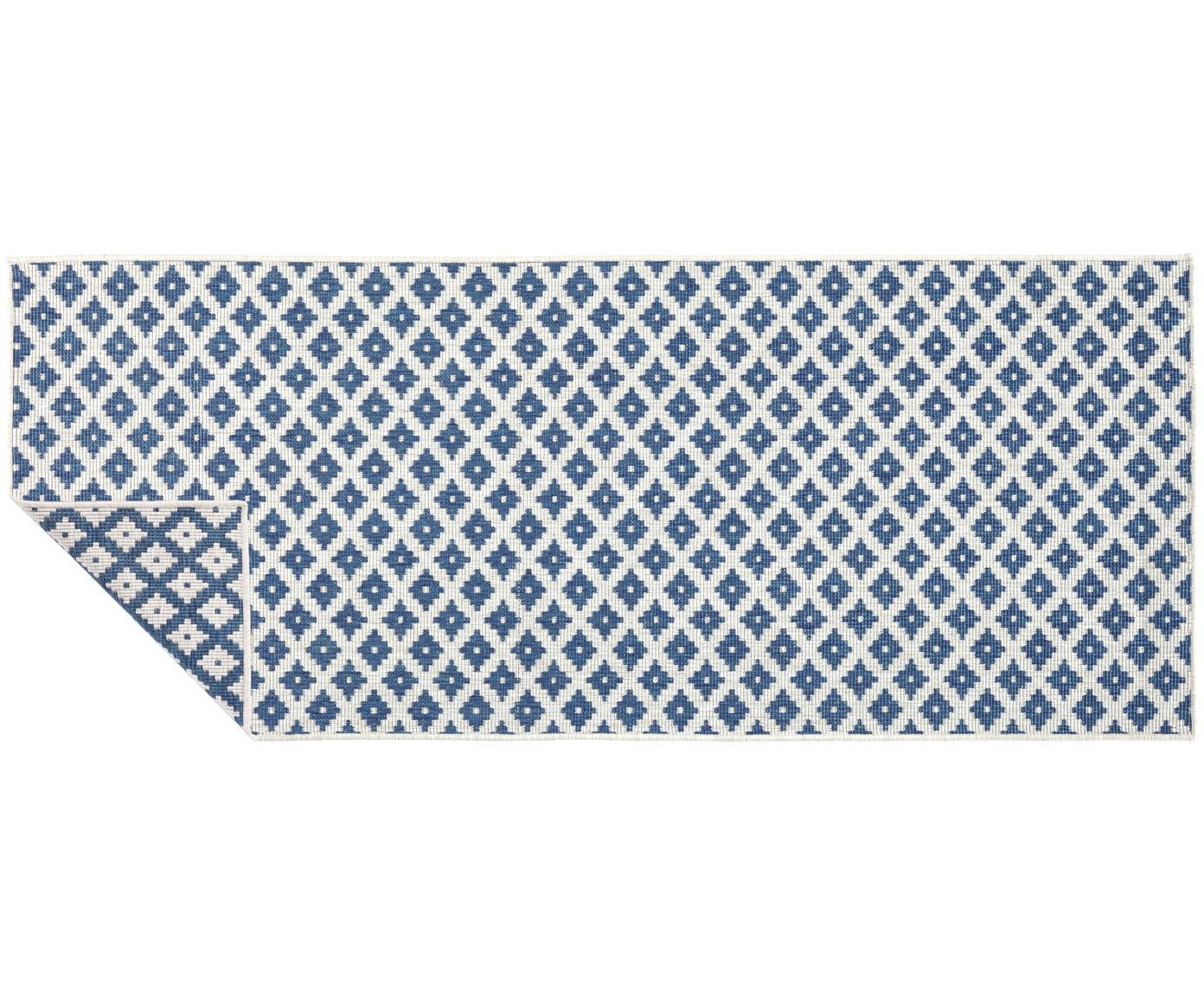 Dubbelzijdige in- & outdoor loper Nizza, Blauw, crèmekleurig, 80 x 250 cm
