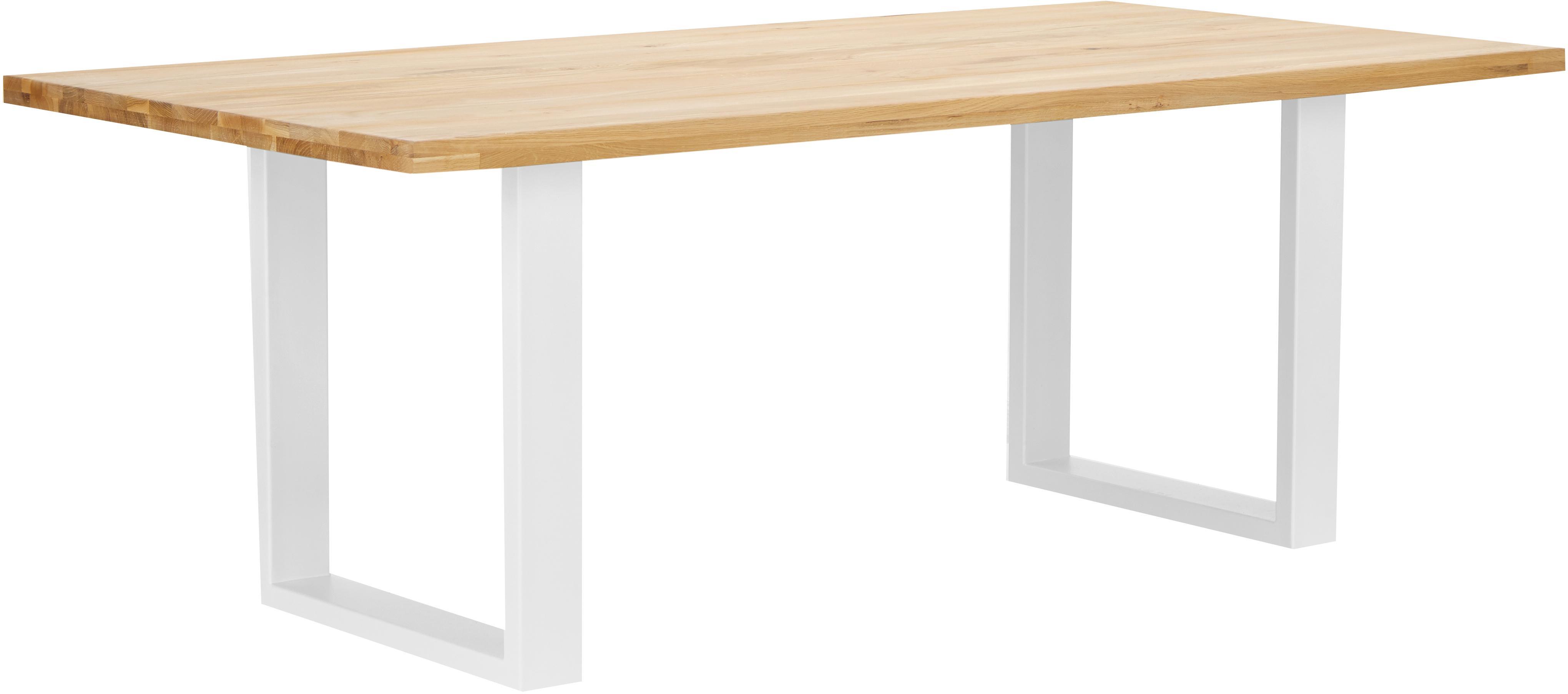 Mesa de comedor Oliver, tablero de madera maciza, Tablero: madera de roble silvestre, Patas: acero mate lacado, Roble, blanco, An 200 x F 100 cm