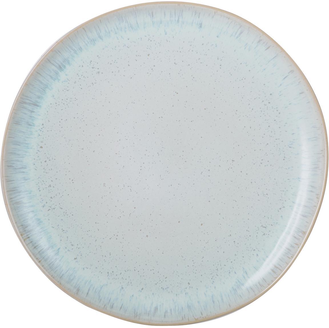Handbemalter Speiseteller Areia mit reaktiver Glasur, Steingut, Hellblau, Gebrochenes Weiss, Hellbeige, Ø 28 cm
