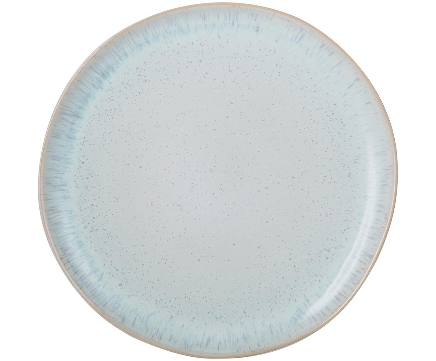 Handbemalter Speiseteller Areia mit reaktiver Glasur, Steingut, Hellblau, Gebrochenes Weiß, Hellbeige, Ø 28 cm