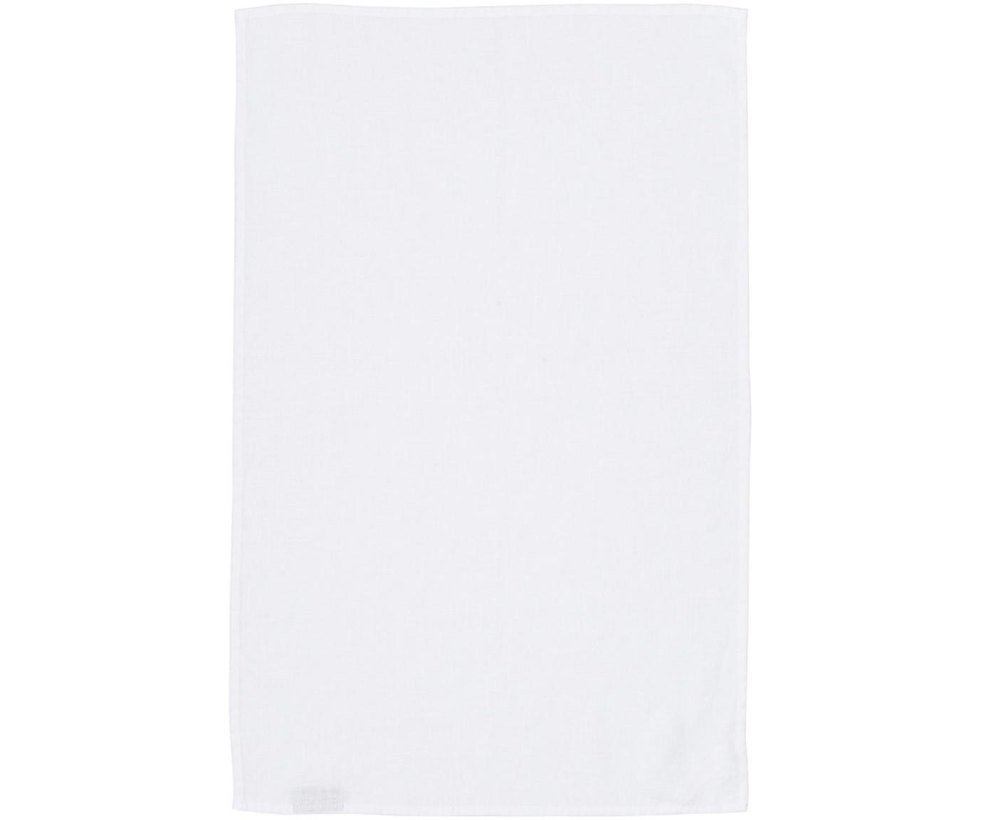 Leinen-Geschirrtuch Ruta in Weiß, Schneeweiß, 45 x 70 cm