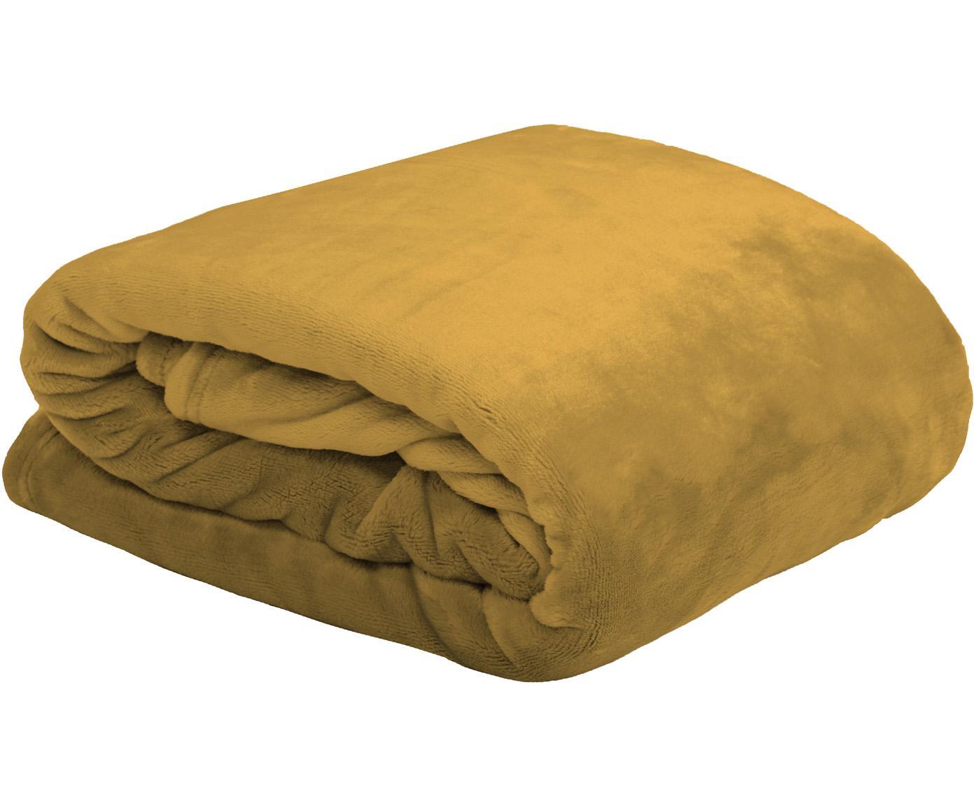 Weiches Fleece-Plaid Doudou in Senfgelb, 100% Polyester, Senfgelb, 130 x 160 cm