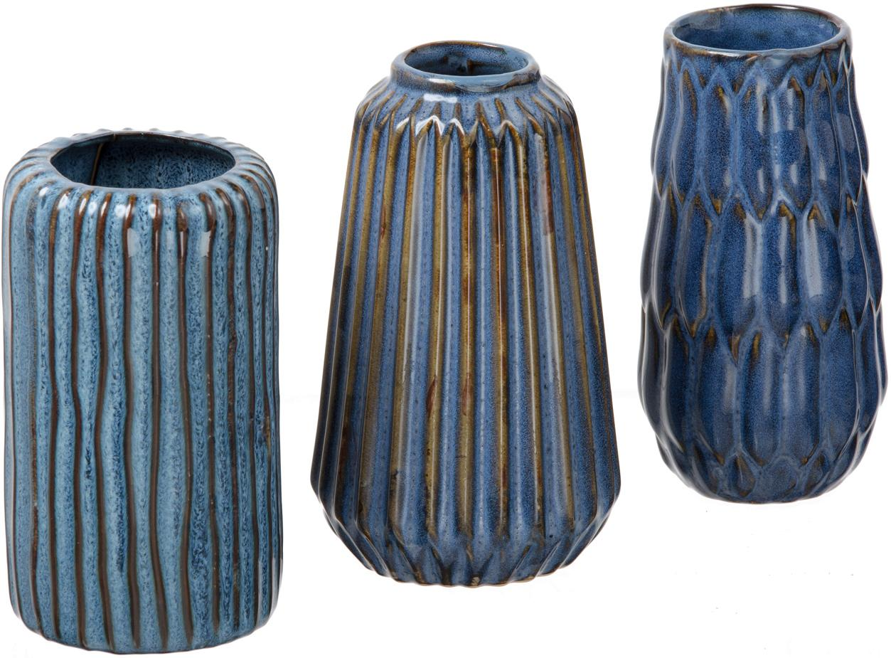 Kleine vazenset Aquarel van porselein, 3-delig, Porselein, Blauwtinten met kleurverloop, Set met verschillende formaten