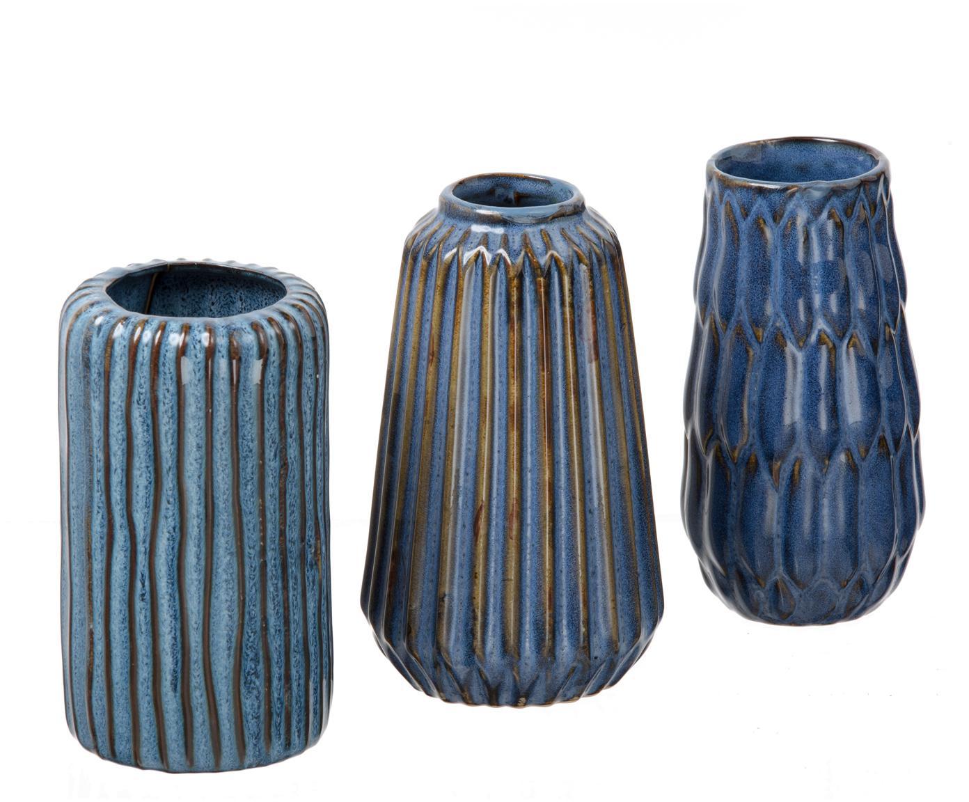 Komplet małych wazonów z porcelany Aquarel, 3 elem., Porcelana, Odcienie niebieskiego z gradientem, Różne rozmiary