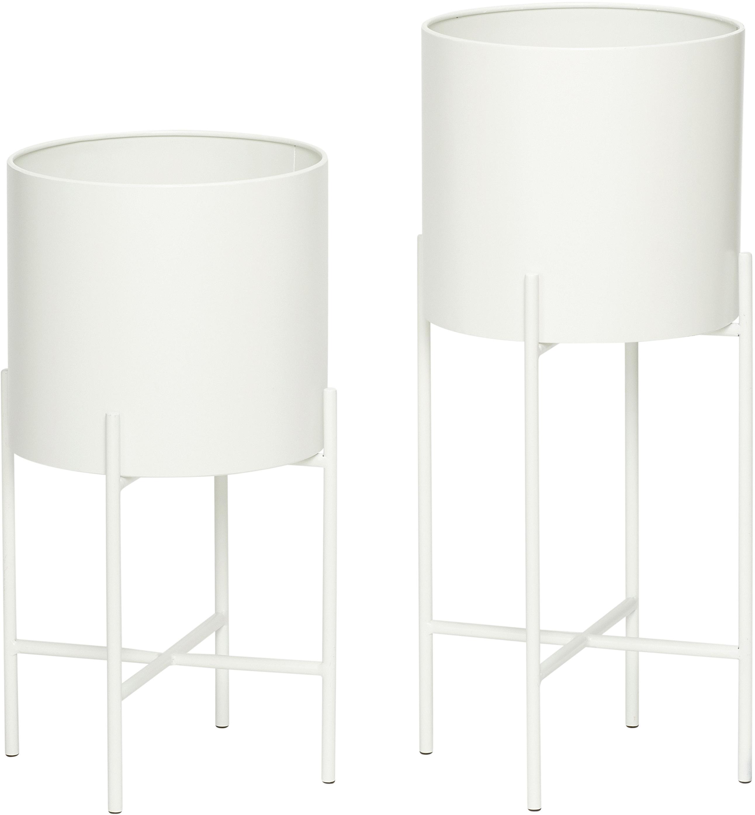 Set 2 portavasi Mina, Metallo, Bianco opaco, Diverse dimensioni