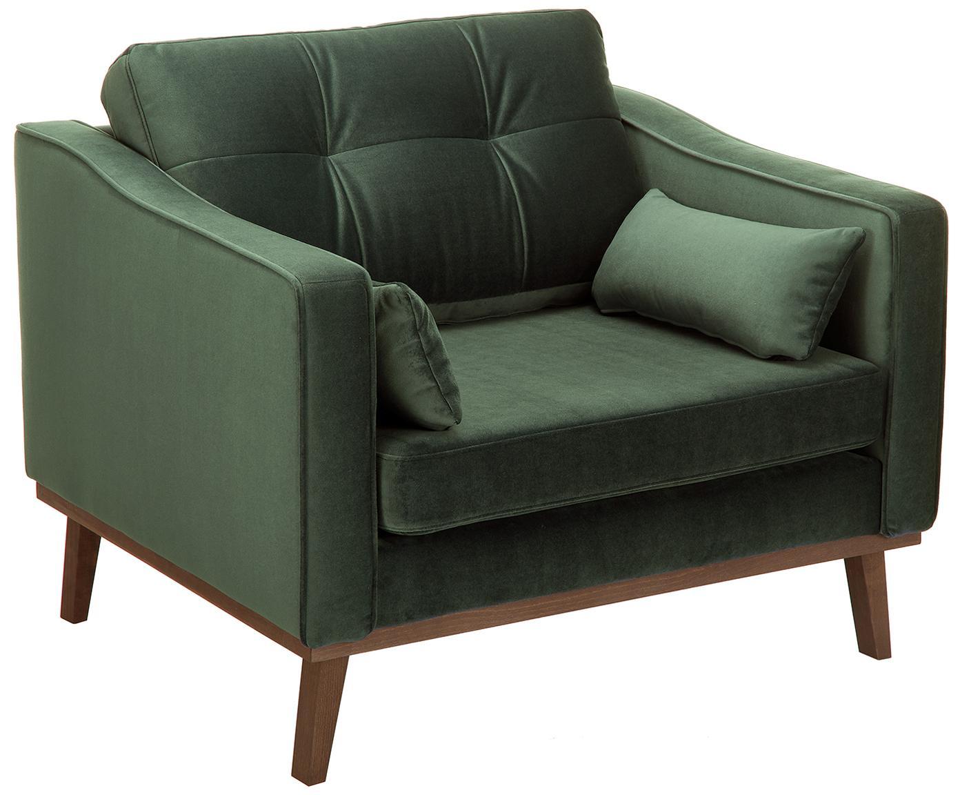 Fotel z aksamitu Alva, Tapicerka: aksamit (wysokiej jakości, Stelaż: drewno sosnowe, Nogi: lite drewno bukowe, barwi, Oliwkowy, S 102 x G 92 cm