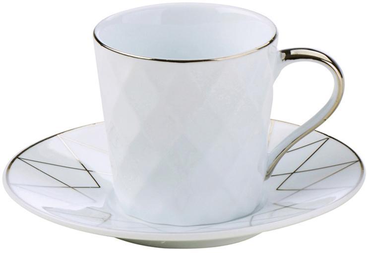 Komplet filiżanek do espresso Lux, 6 elem., Porcelana, Biały, odcienie platynowego, Ø 12 x W 6 cm
