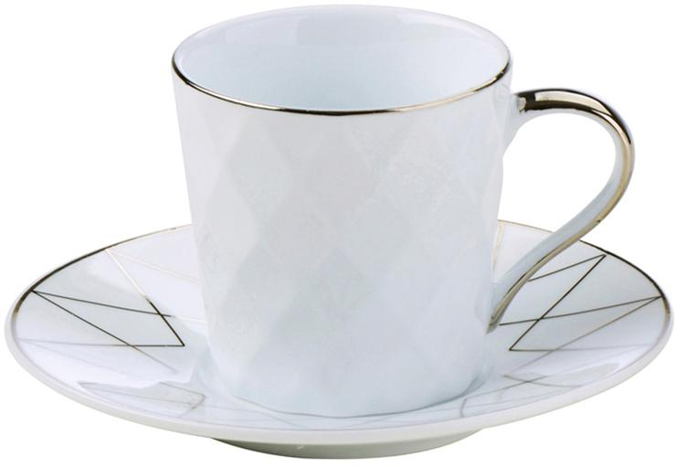 Set 6  tazzine da caffè Lux, Porcellana, Bianco, platino, Ø 12 x Alt. 6 cm