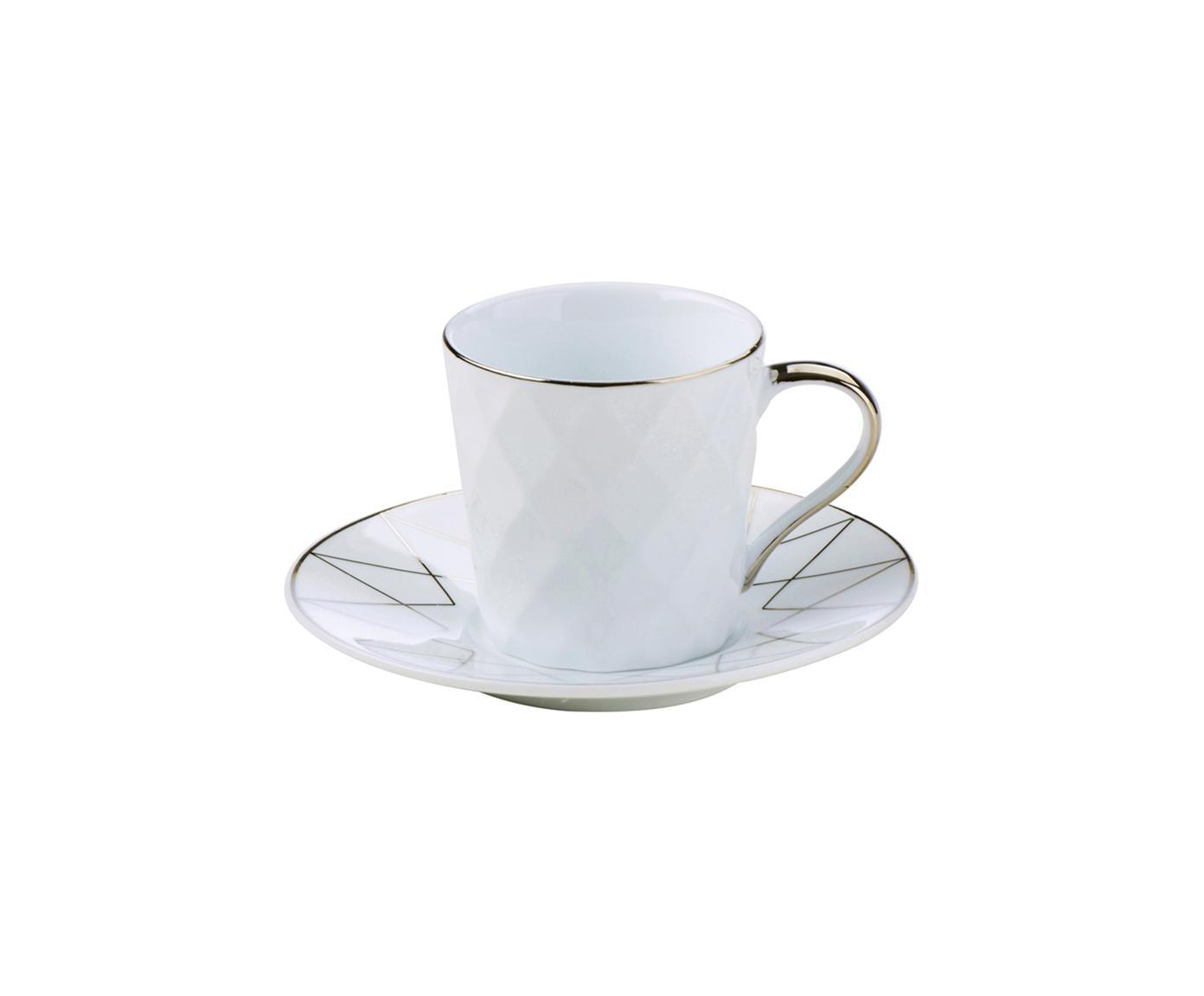 Espressotassen mit Untertassen Lux mit silbernem Dekor, 3 Stück, Porzellan, Weiss, Platinfarben, Ø 12 x H 6 cm
