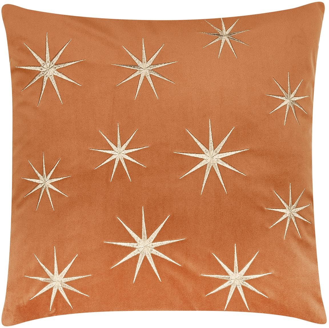 Bestickte Samt-Kissenhülle Stars mit winterlichen Sternenmotiven, Orange, 45 x 45 cm