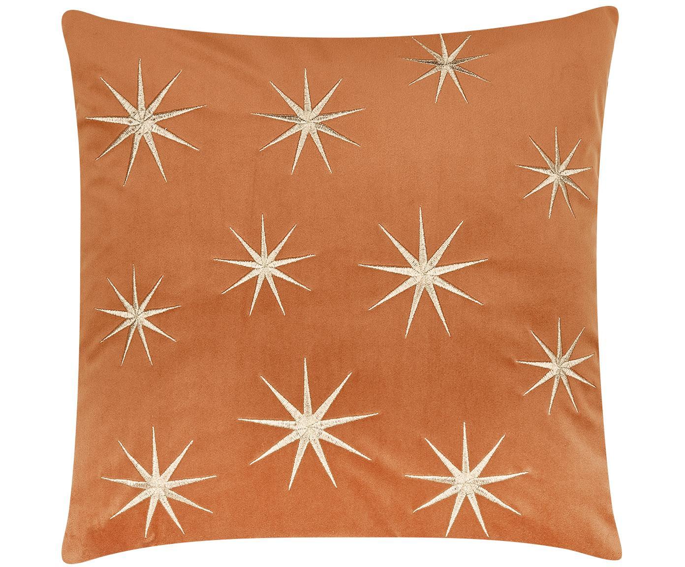 Wyszywana poszewka na poduszkę z aksamitu Stars, Pomarańczowy, S 45 x D 45 cm