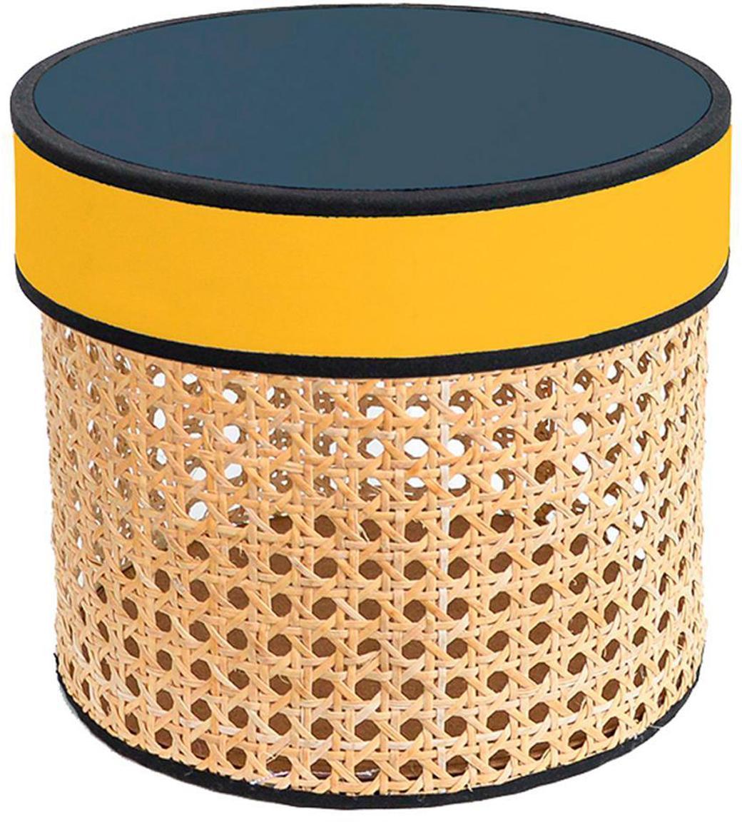 Caja decorativa Pamela, Caja: rejilla, Tapa: tela, fibras de densidad , Beige, amarillo, Ø 21 x Al 19 cm