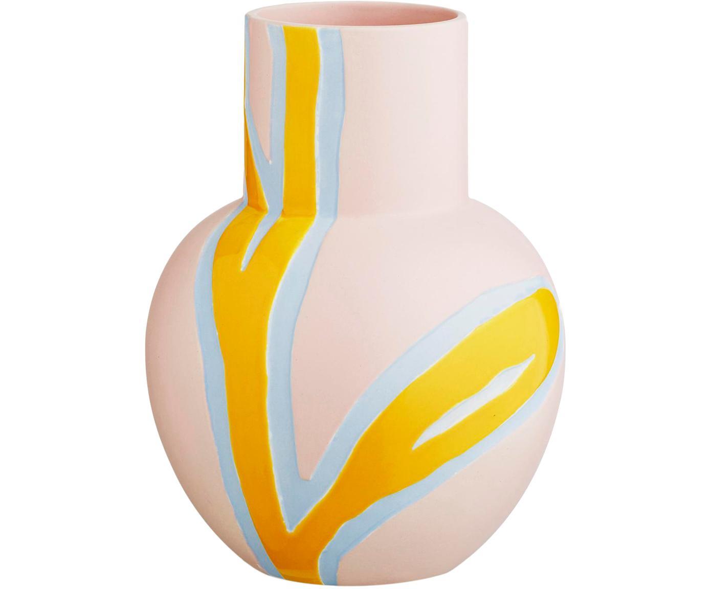 Handgemaakte design vaas Fiora, Porselein, Roze, geel, lichtblauw, 19 x 25 cm