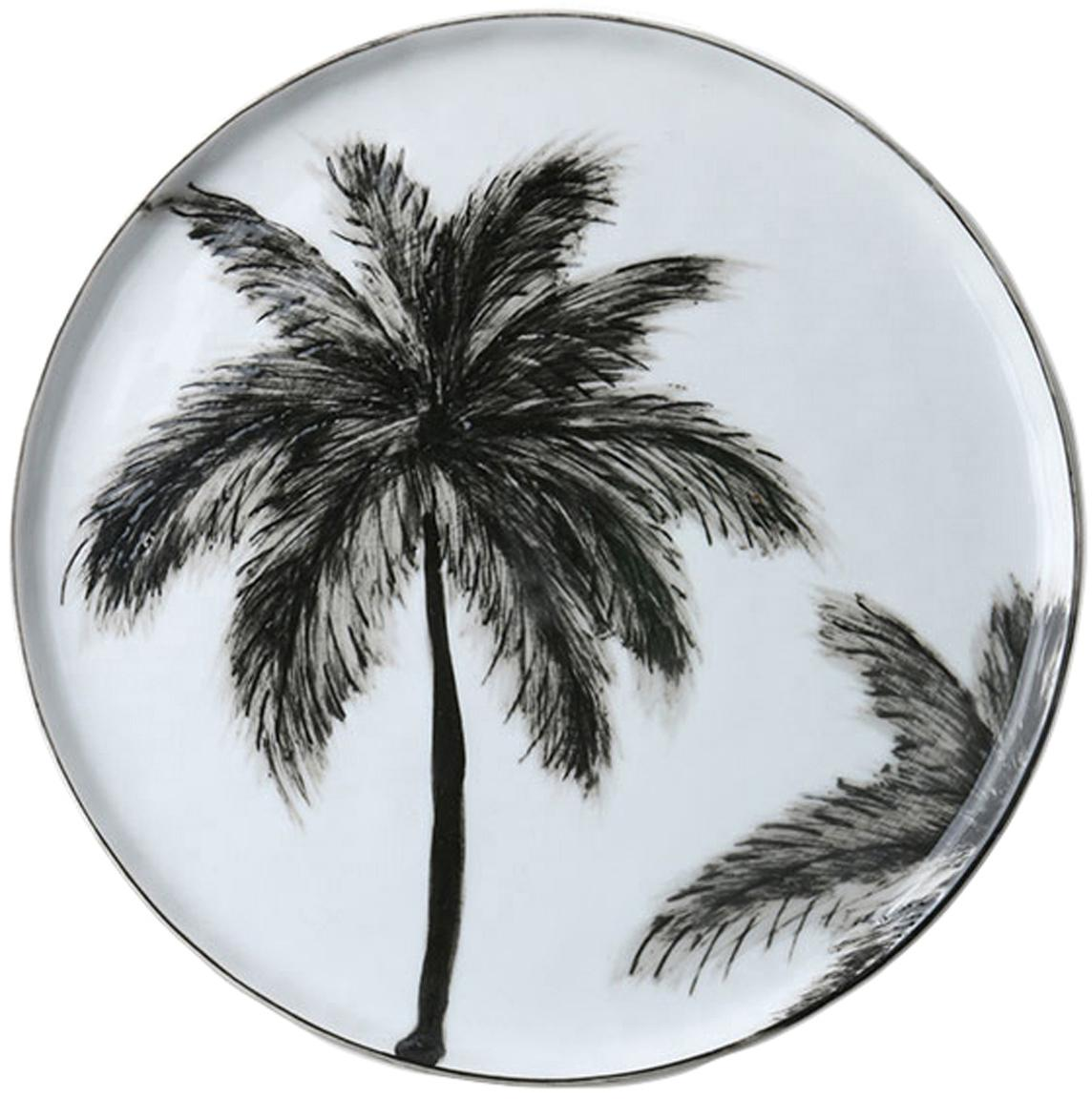 Piattino da dessert Palms 2 pz, Porcellana, Nero, bianco, Ø 22 cm