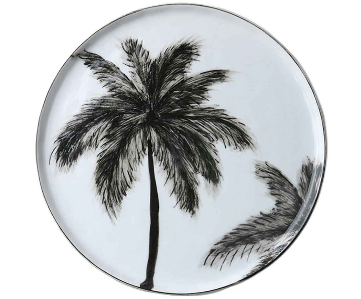 Frühstücksteller Palms, 2 Stück, Porzellan, Schwarz, Weiß, Ø 22 cm
