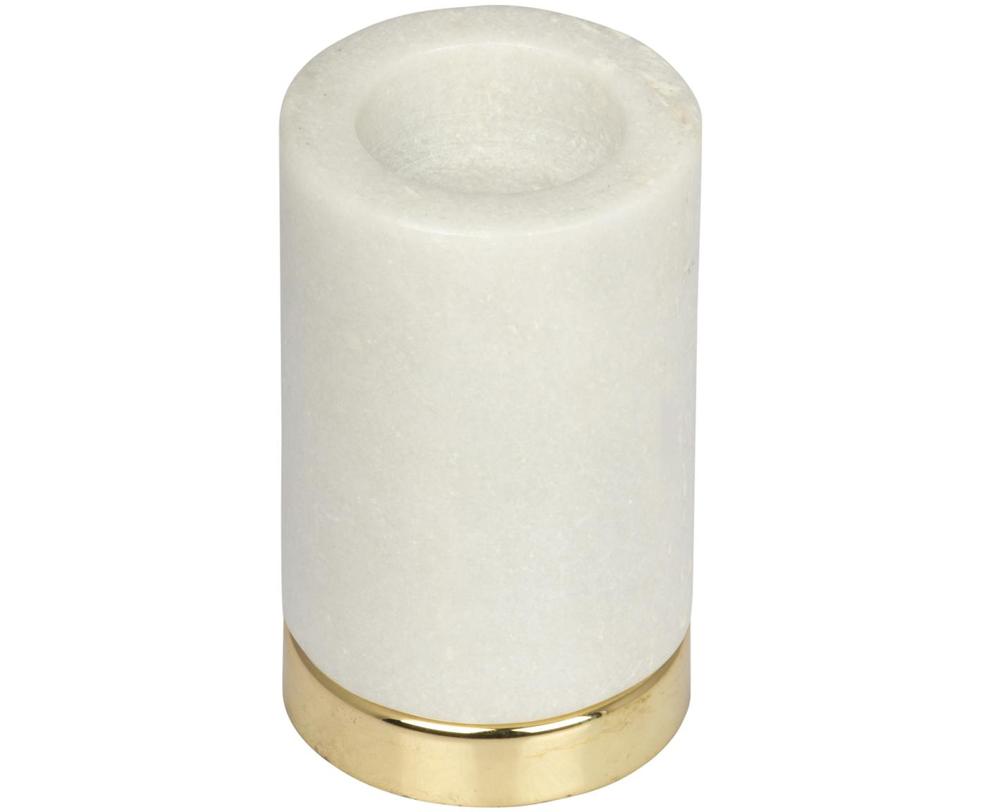 Teelichthalter Porter, Sockel: Metall, vermessingt, Kerzenhalter: Marmor, Weiss, Messing, Ø 7 x H 11 cm
