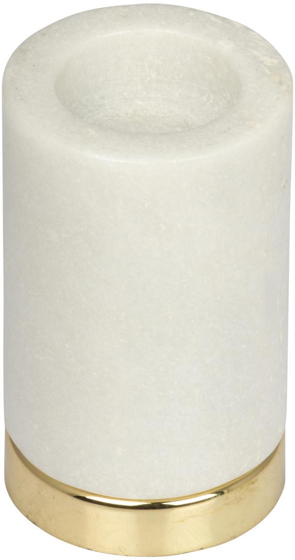 Waxinelichthouder Porter, Voetstuk: vermessingd metaal, Wit, messingkleurig, Ø 7 x H 11 cm