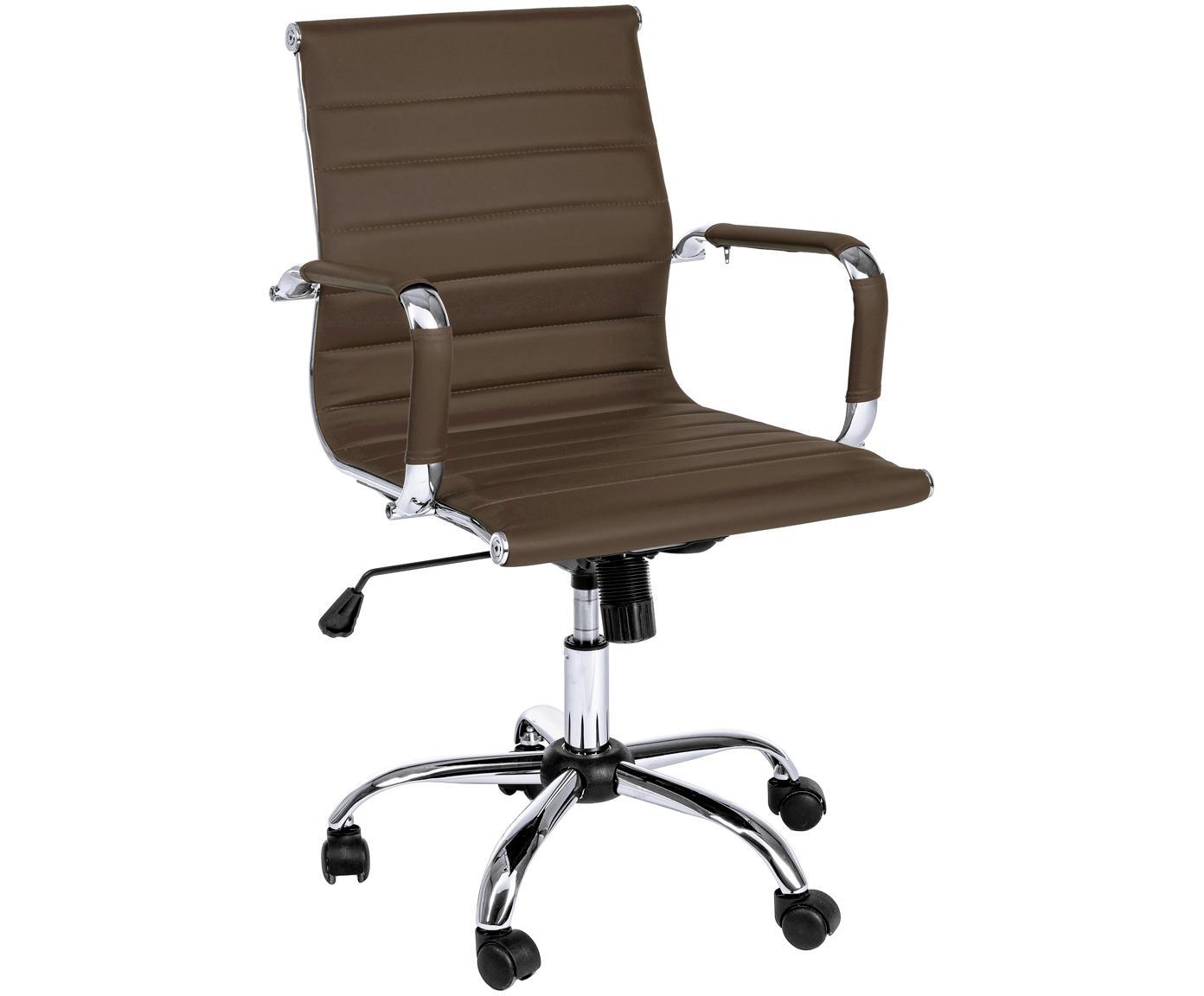 Biurowe krzesło obrotowe ze sztucznej skóry Praga, Stelaż: metal chromowany, Tapicerka: sztuczna skóra (poliureta, Brązowy, S 59 x W 89 cm