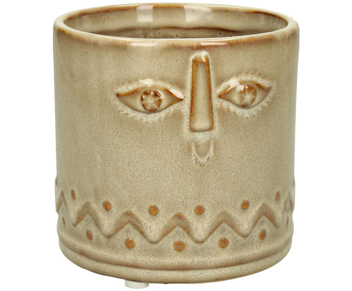 Übertopf Sandy, Keramik, Braun, Ø 12 x H 11 cm