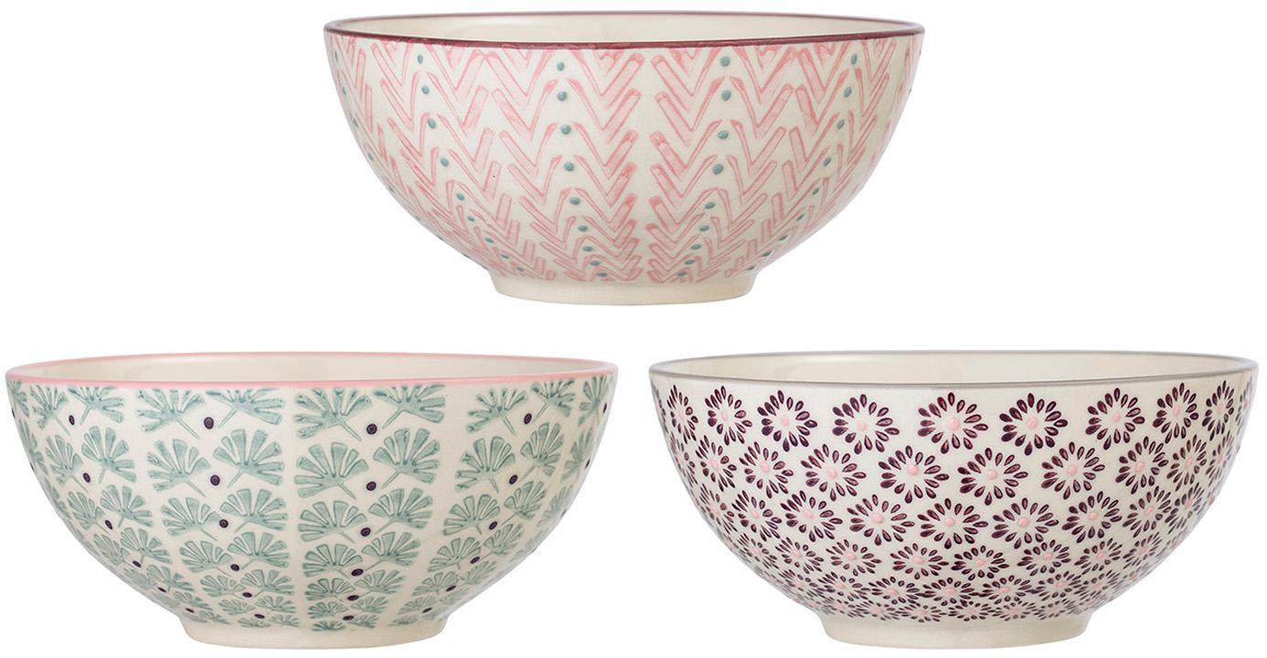 Cuencos Maya, 3uds., Gres, Blanco crudo, verde, rosa, lila, Ø 17 x Al 8 cm