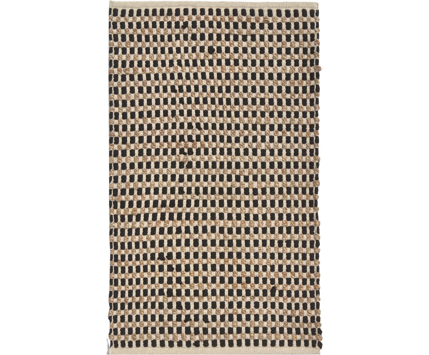 Tappeto in cotone/juta Fiesta, 55% cotone chindi, 45% juta, Nero, beige, Larg. 60 x Lung. 90 cm (taglia XXS)