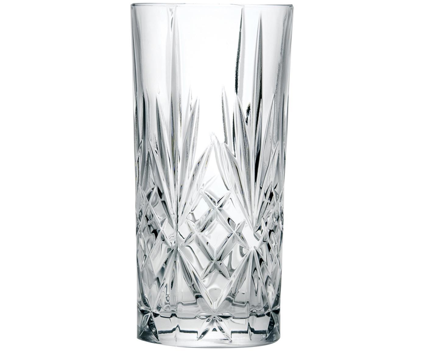 Vasos highball de cristal Melodia, 6uds., Cristal, Transparente, Ø 7 x Al 15 cm