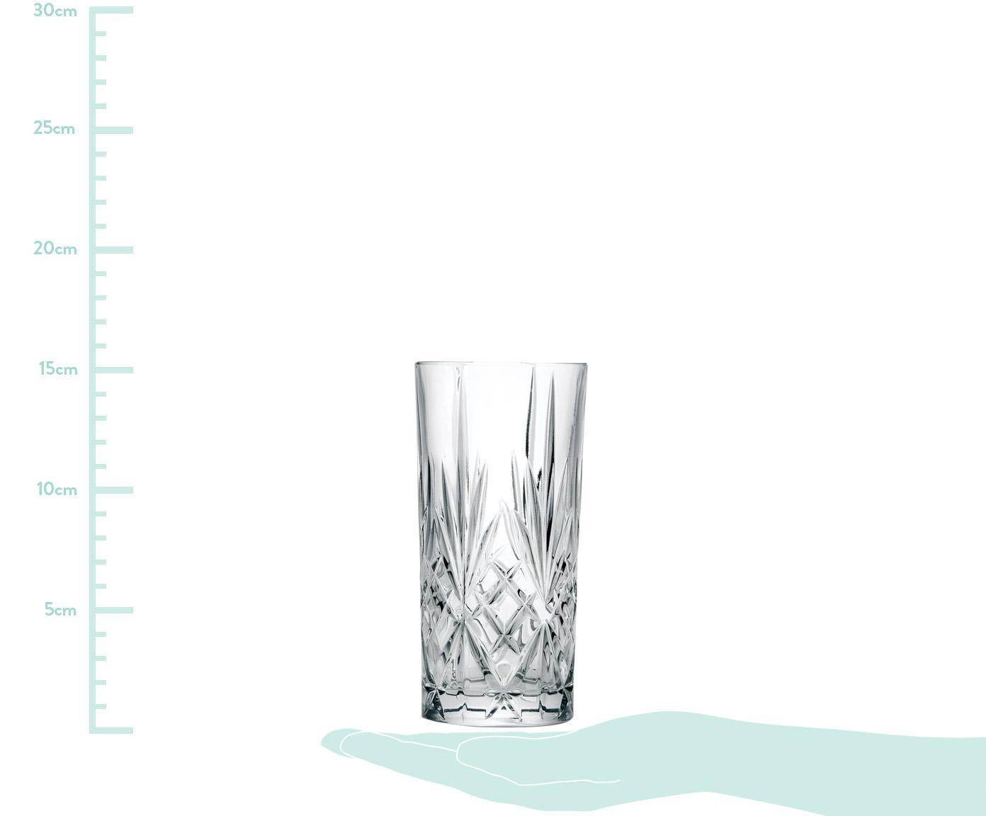 Kristall-Longdrinkgläser Melodia mit Reliefmuster, 6er-Set, Kristallglas, Transparent, Ø 7 x H 15 cm