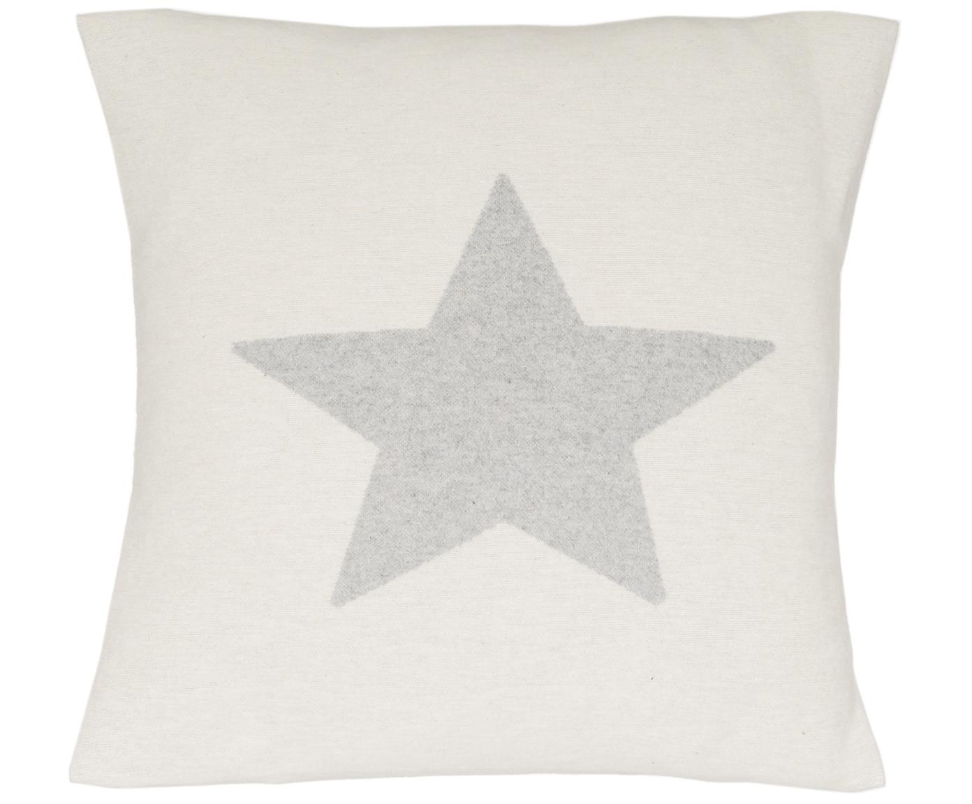 Federa arredo in pile Silvretta Star, 85% cotone, 8% viscosa, 7% poliacrilico, Beige, grigio, Larg. 40 x Lung. 40 cm