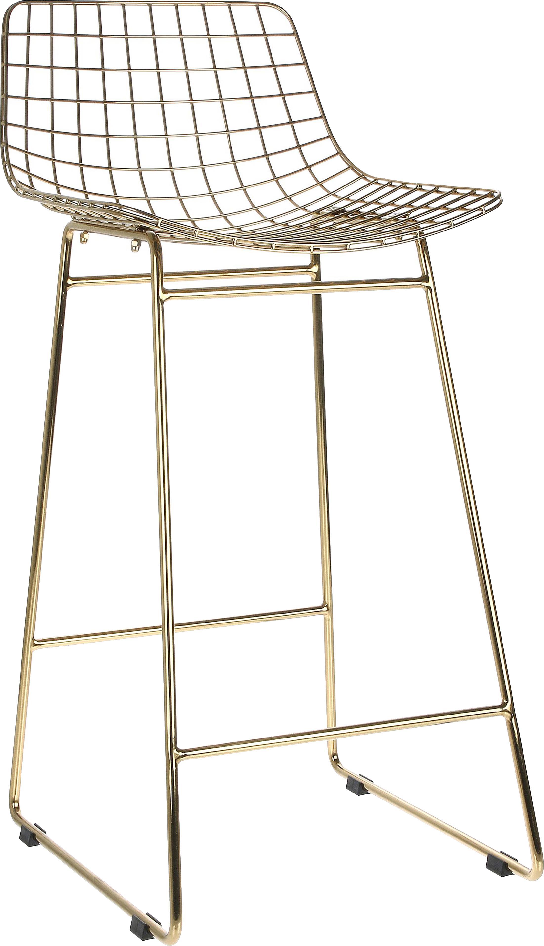Sedia da bar Wire 2 pz, Metallo verniciato a polvere, Ottone, Larg. 47 x Alt. 89 cm