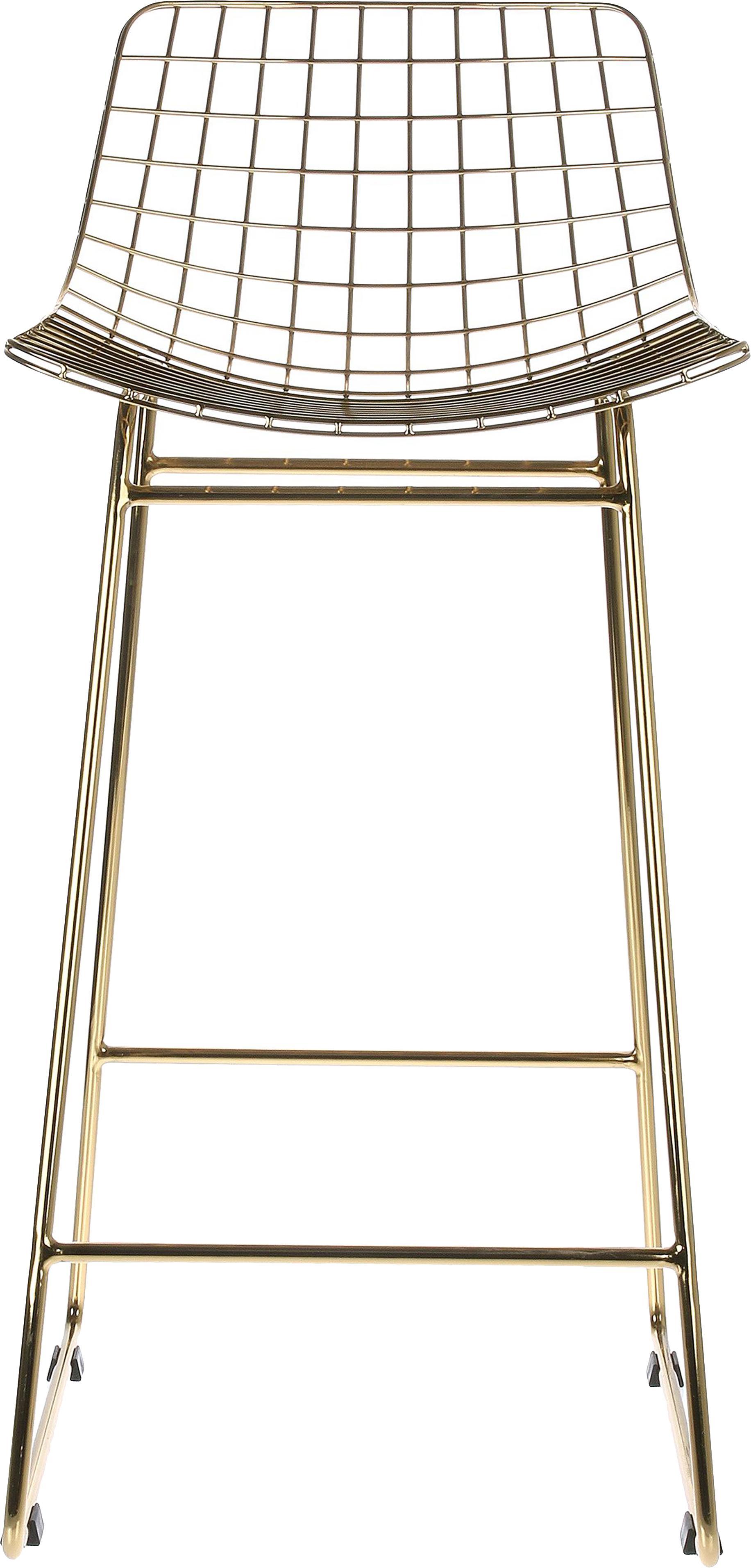 Metall-Thekenstühle Wire in Gold, 2 Stück, Metall, pulverbeschichtet, Messingfarben, 47 x 89 cm