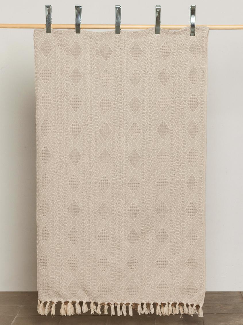 Gemusterte Tagesdecke Chicago, 100% Baumwolle, Beige, Elfenbeinfarben, 240 x 260 cm