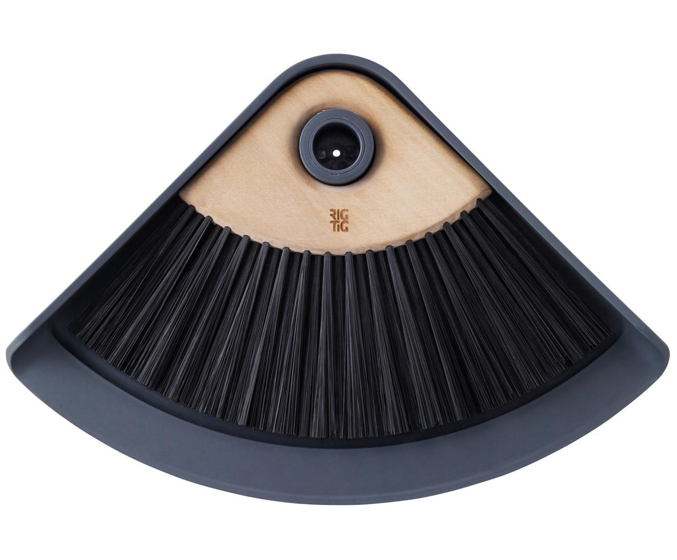 Handfeger und Kehrschaufel Sweep-It, Kunststoff, Lotusholz, Kehrschaufel: Grau<br>Borsten Handfeger: Schwarz, Griff Handfeger: Braun, 20 x 28 cm