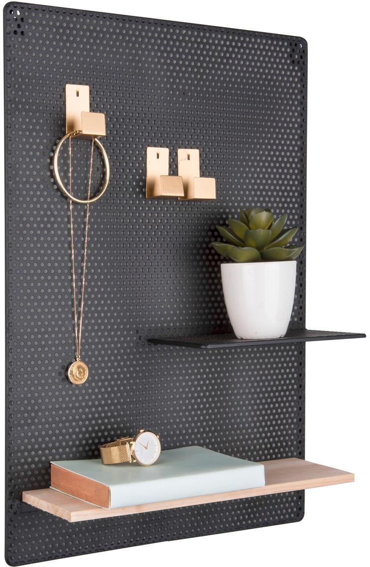 Tablero estantería Perkys, Estante: madera, Negro, latón, An 35x Al 53