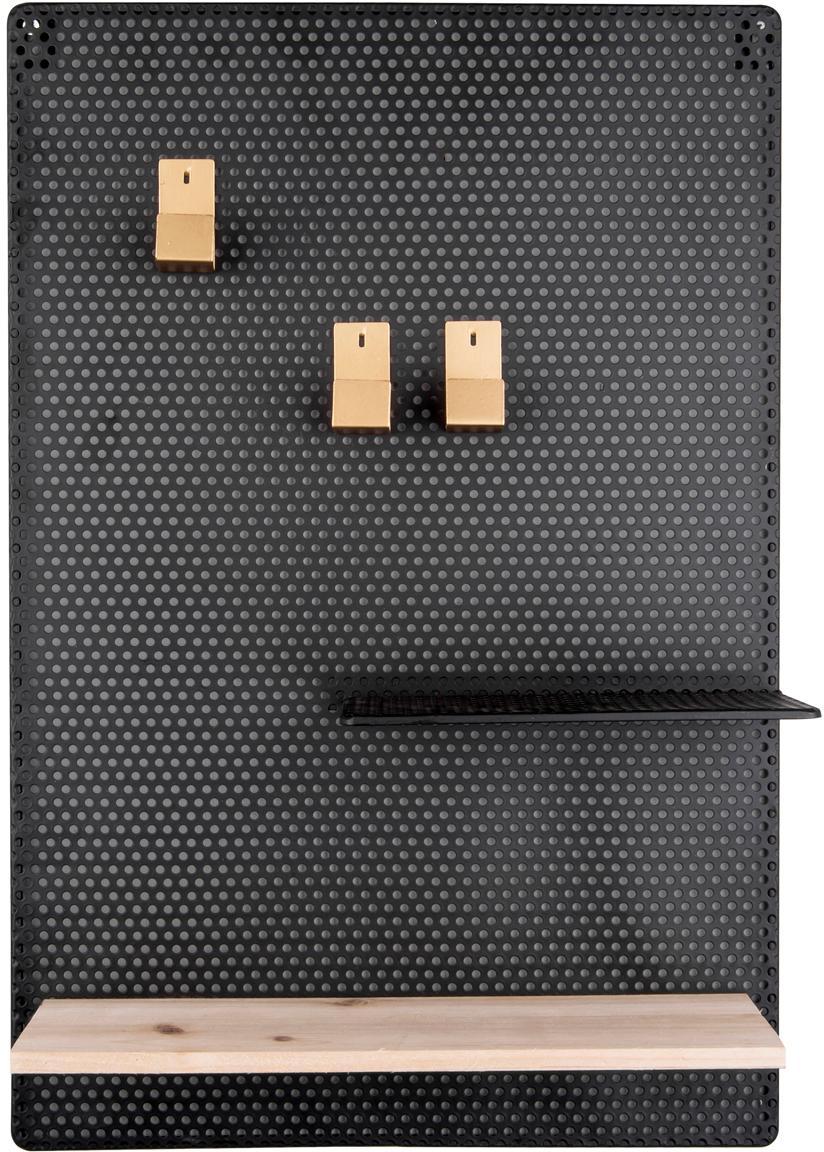 Pinnwand Perkys, Ablagefläche: Holz, Schwarz, Messingfarben, B 35 x H 53