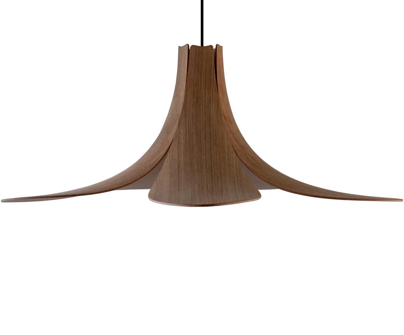 Lámpara de techo en roble Jazz, Pantalla: chapa de roble, Anclaje: metal pintado, Cable: cubierto en tela, Roble oscuro, negro, Ø 65 x Al 24 cm