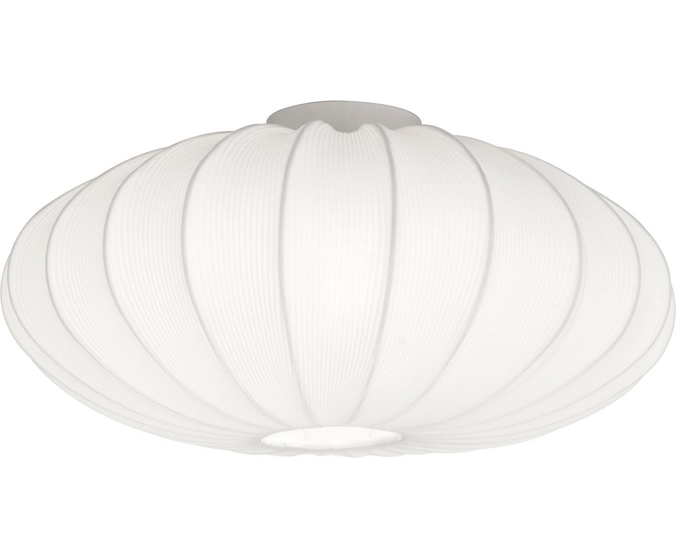 Plafondlamp Mamsell, Metaal, textiel, Wit, Ø 55 x H 28 cm