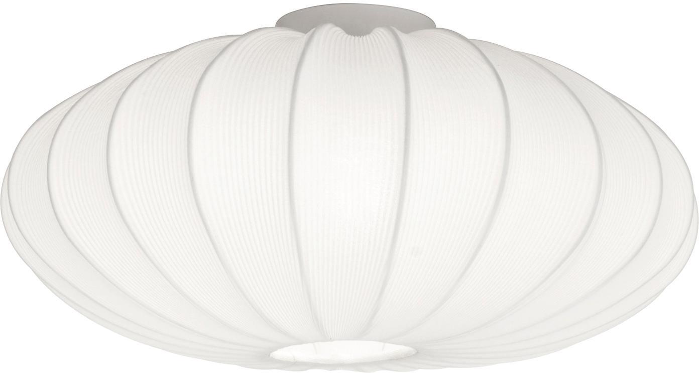 Plafoniera Mamsell, Metallo, tessuto, Bianco, Ø 55 x Alt. 28 cm