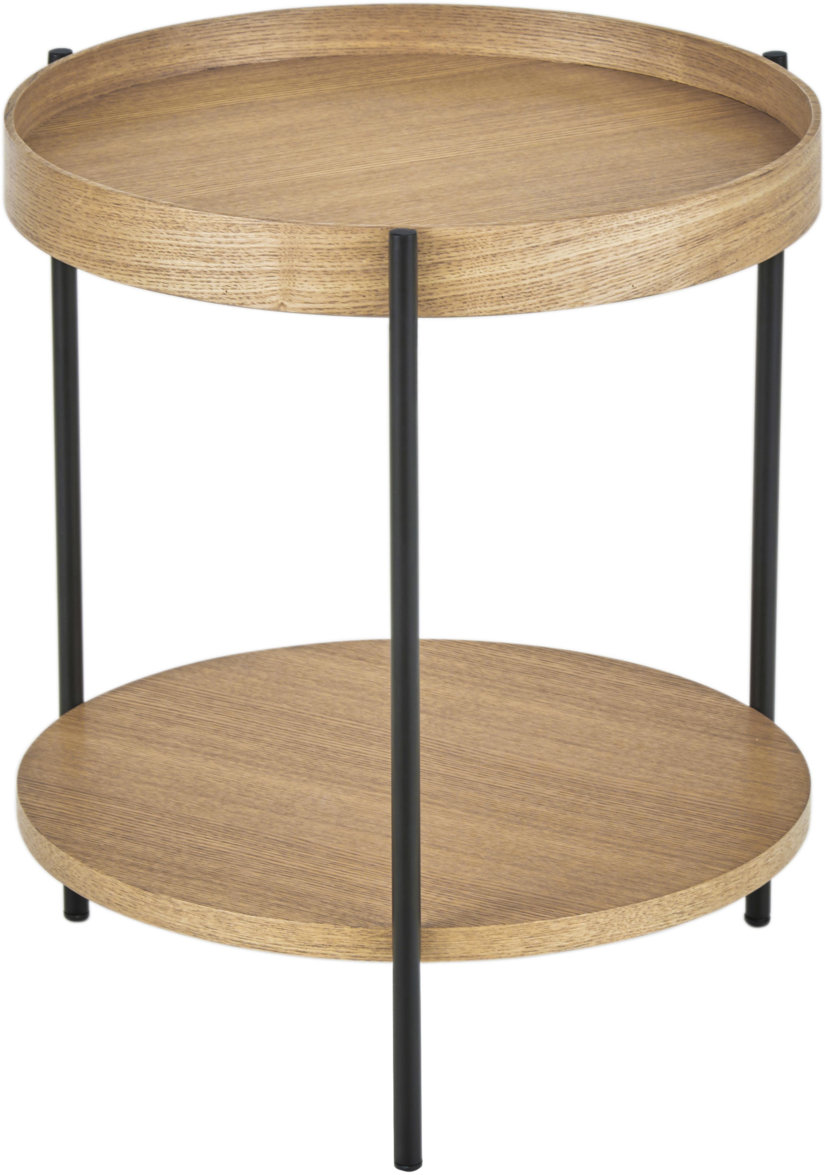 Mesa auxiliar con estante Renee, Tablero: fibras de densidad media , Estructura: metal con pintura en polv, Beige, Ø 44 x Al 49 cm