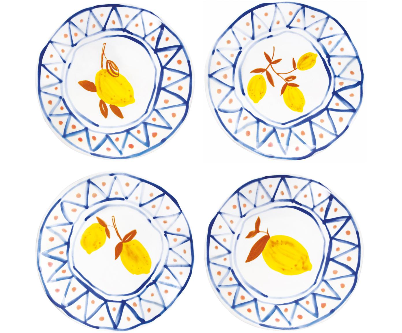 Brotteller-Set Lemon Moroccan, 4-tlg., Steingut, Weiß, Blau, Orange, Gelb, Ø 16 cm