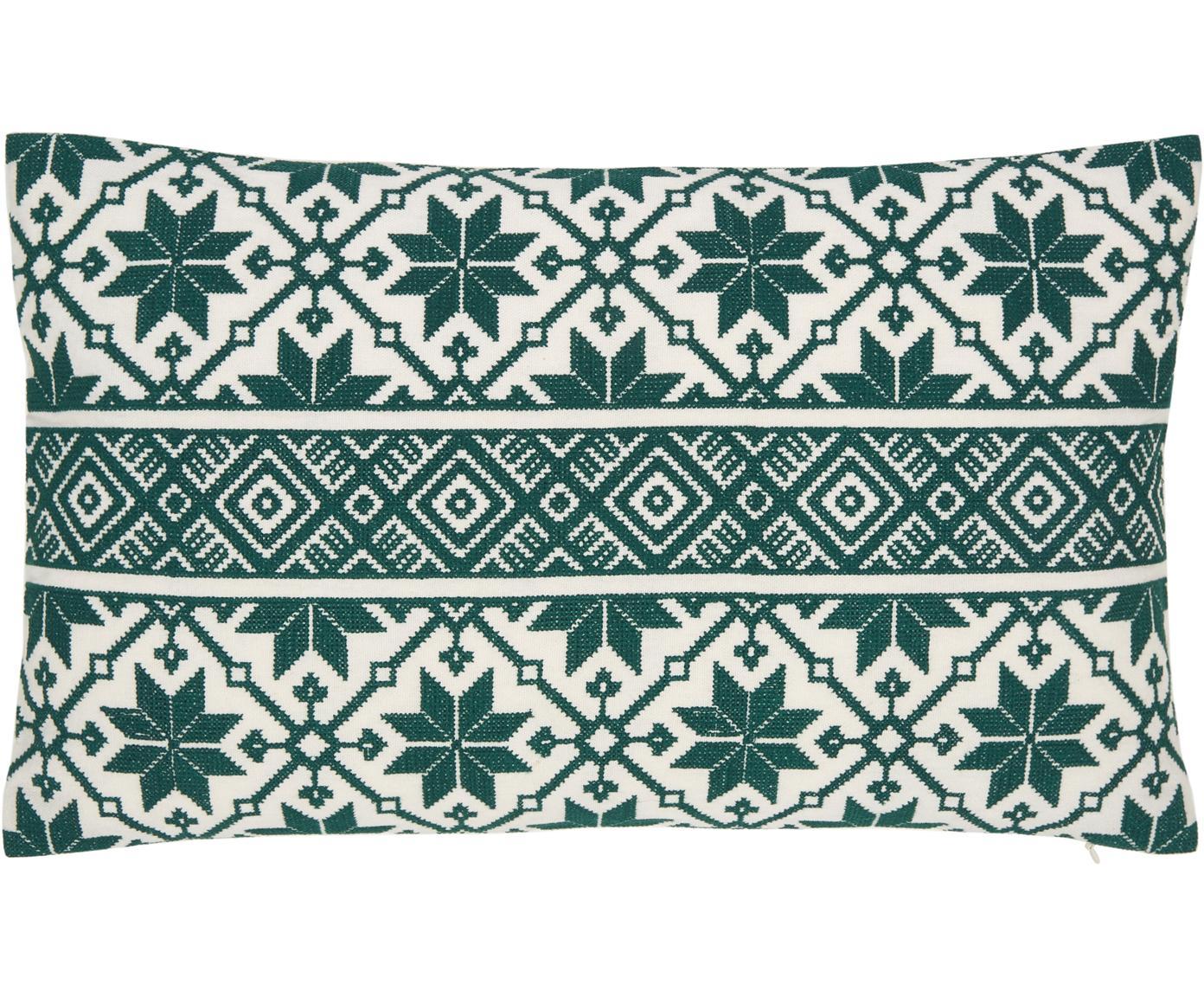 Bestickte Kissenhülle Shetland mit winterlichen Motiven, 100% Baumwolle, Grün, Cremeweiss, 30 x 50 cm