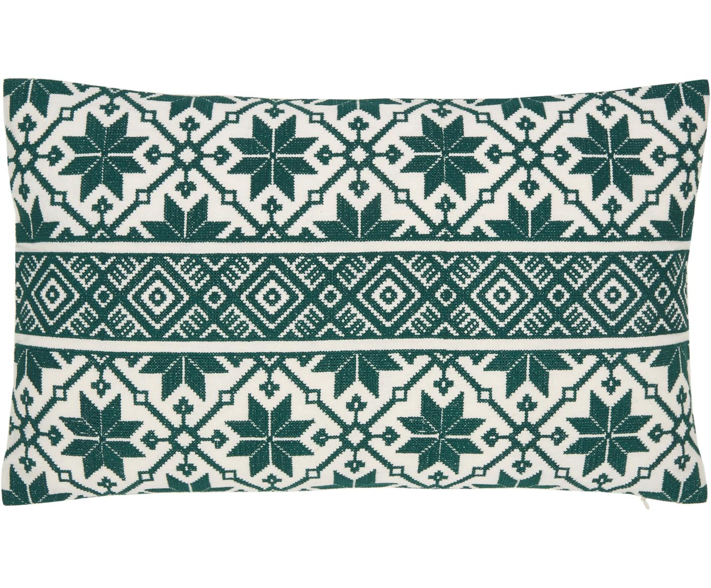 Funda de cojín Shetland, 100%algodón, Verde, blanco crema, Cama 180/200 cm (260 x 220 cm)