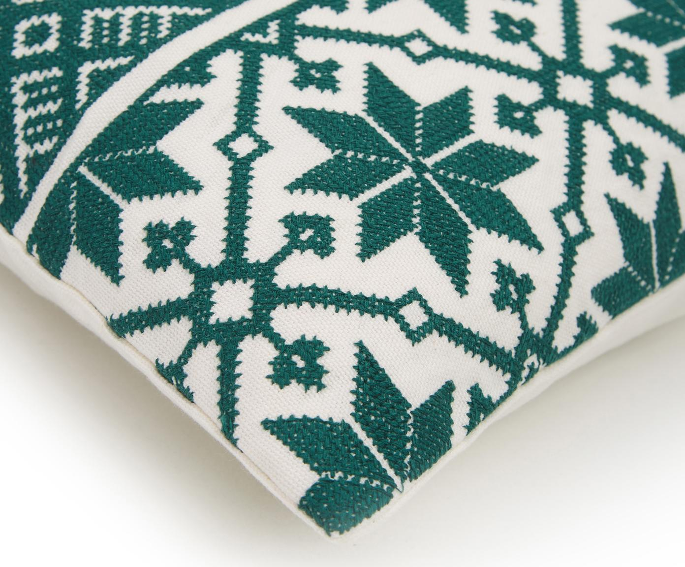 Funda de cojín bordada Shetland, 100%algodón, Verde, blanco crema, An 30 x L 50 cm