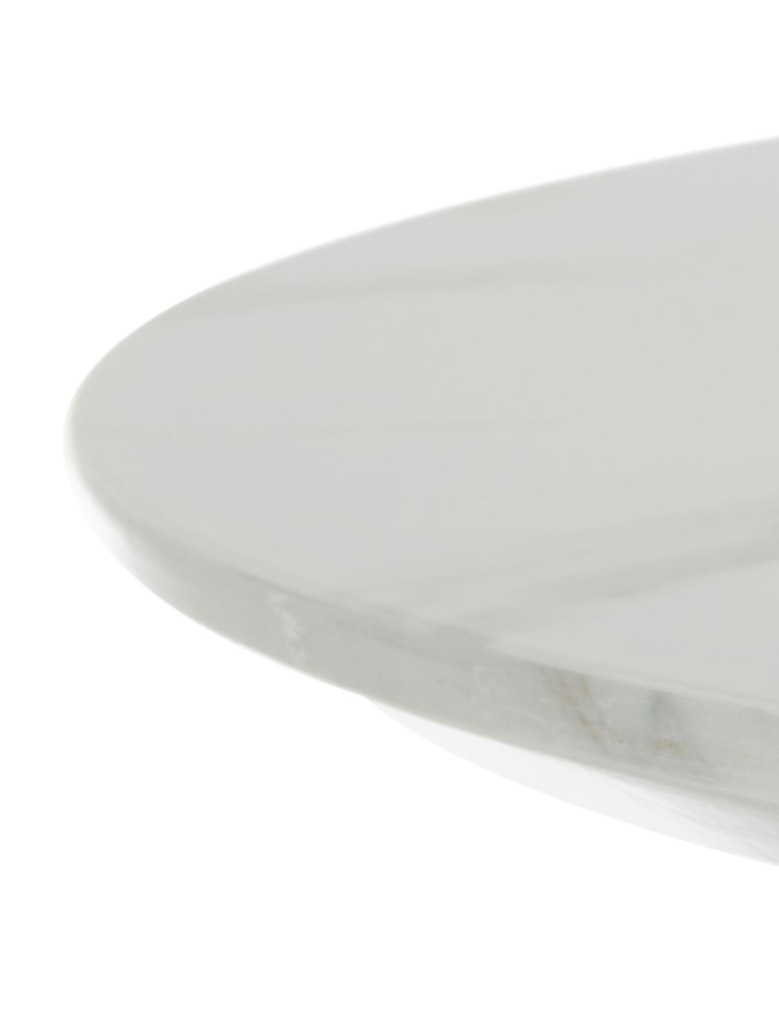 Ronde eettafel Karla in marmerlook, Tafelblad: MDF, bedekt met gelakt pa, Tafelblad: wit, gemarmerd. Tafelpoot: mat goudkleurig, Ø 90 x H 75 cm