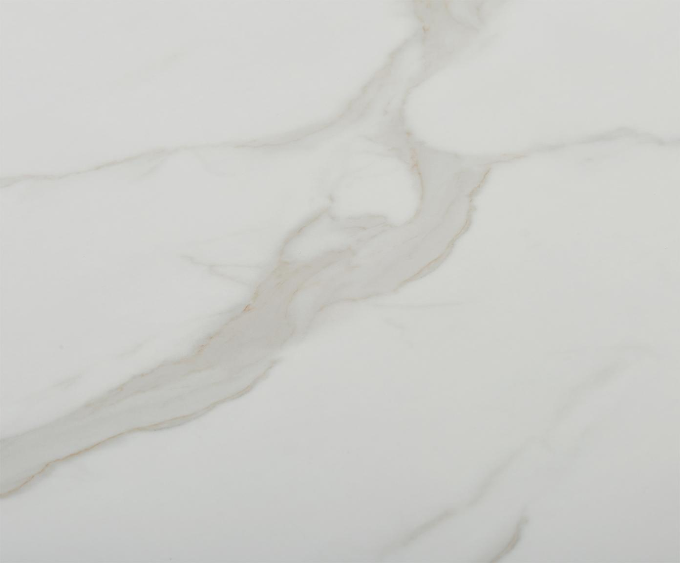 Eettafel Karla, Tafelblad: MDF, bedekt met gelakt pa, Tafelblad: wit, gemarmerd. Tafelpoot: mat goudkleurig, Ø 90 x H 75 cm