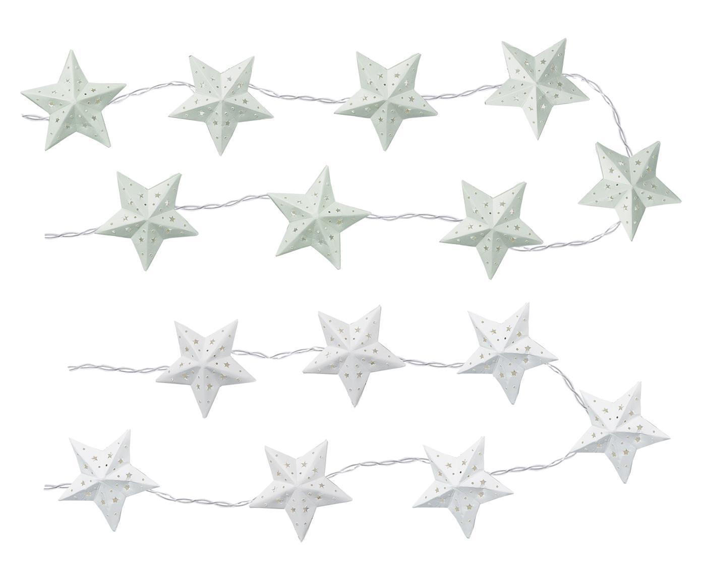Set de guirnaldas de luces LED Stern, 2pzas., Papel, Blanco, menta, L 165 cm