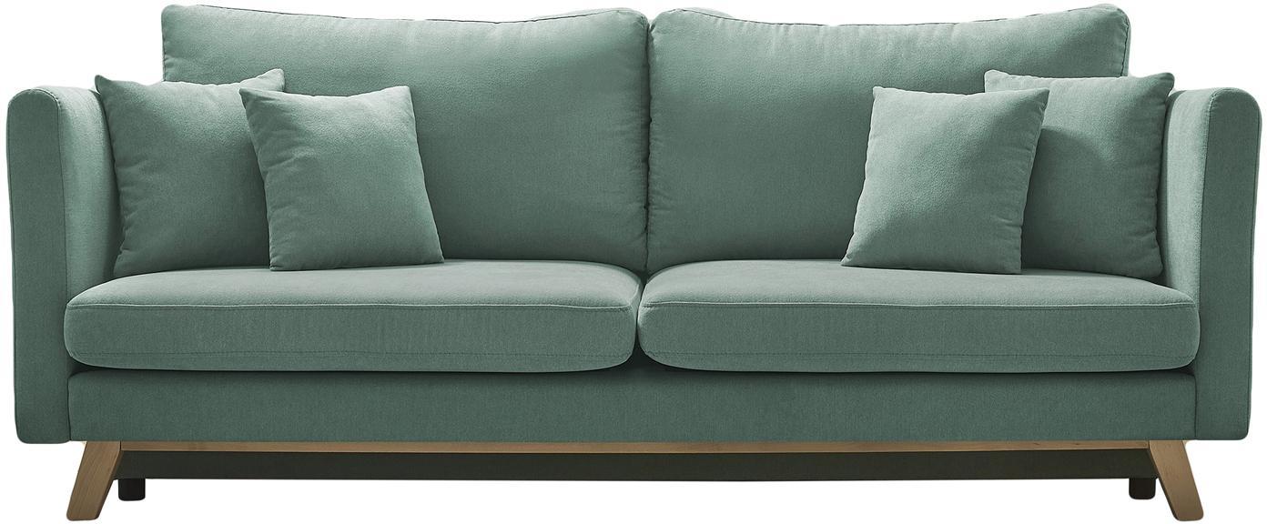 Sofa rozkładana Triplo (3-osobowa), Tapicerka: 100% aksamit poliestrowy, Nogi: metal lakierowany, Zielony miętowy, S 216 x G 105 cm
